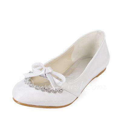 Frauen Satiniert Flascher Absatz Geschlossene Zehe Flache Schuhe mit Des bowknot Strass (047014129)