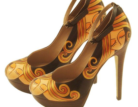Hand Painted Shoes Blond Lady PumpsParty Painted by PonkoWorld, $195.00