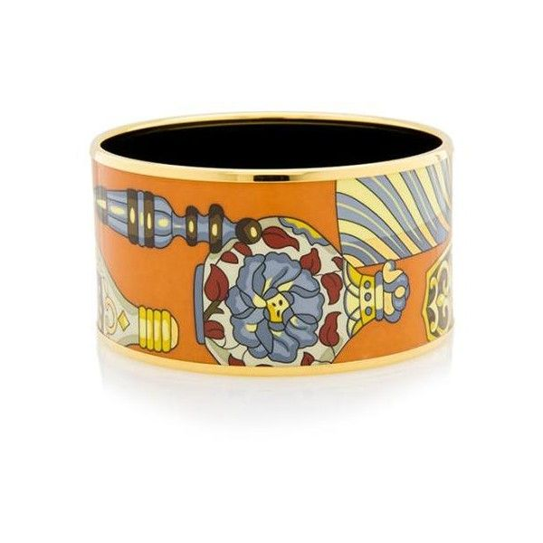 Pre-Owned Hermes Qu'Importe le Flacon Extra Wide Printed Enamel... ($495) ❤ liked on Polyvore featuring jewelry, bracelets, orange, preowned jewelry, pre owned jewelry, hermes jewelry, wide bangle and hermes bangle