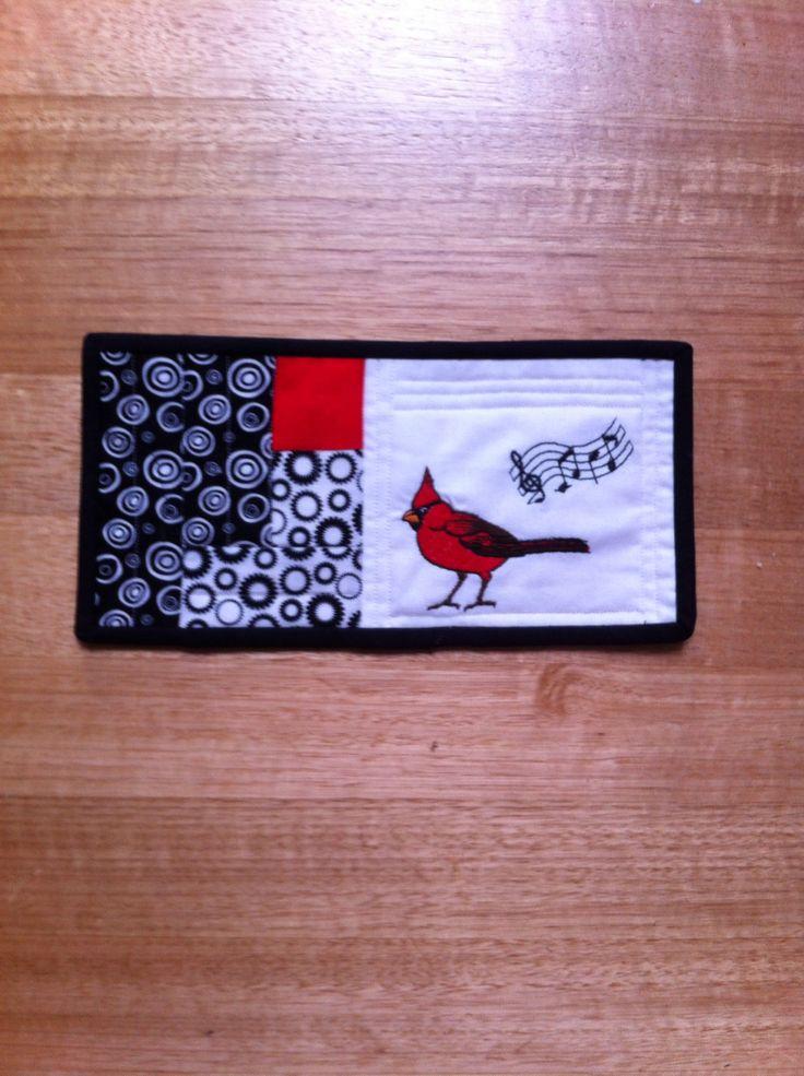 Cardinal bird embroided and patchwork mug rug