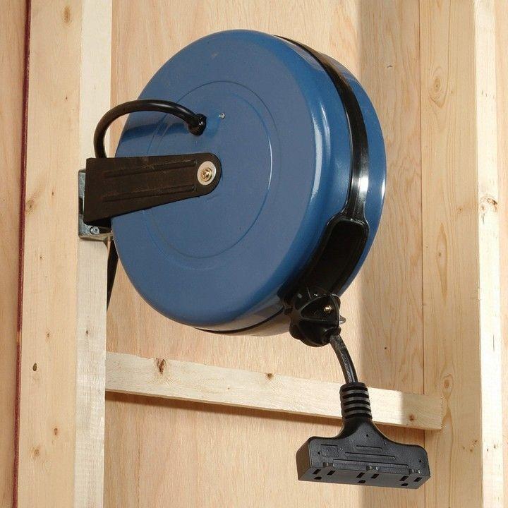 Rockler 12 Gauge Retractable Extension Cord Reel Garage