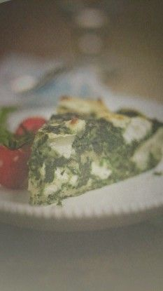 DEEP-DISH SPINACH AND GOAT'S CHEESE OMELETTE RECIPE  This thick, eggy mixture is oven baked and makes a delicious supper served either hot or cold. Served cold it makes a great picnic treat too.