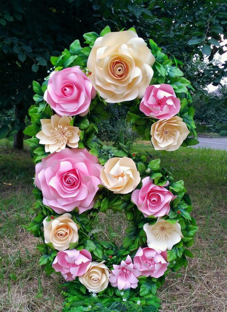 Цифры на День Рождения. Декор цветами из бумаги.