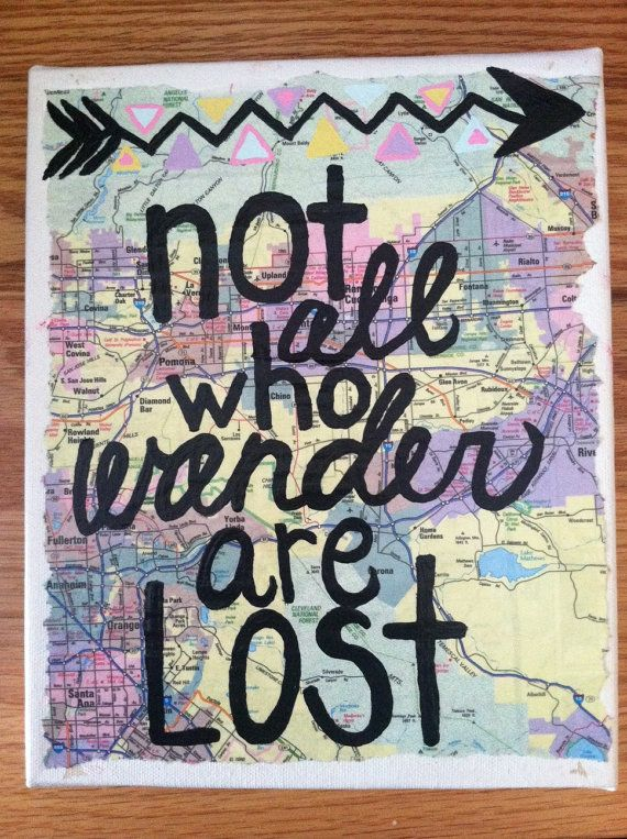 Canvas Painting  Wander Map Quote by kalligraphy on Etsy, $25.00