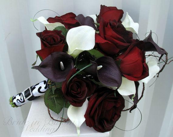 Black baccara rose Wedding bouquet real touch dark plum & white calla lily Bridal bouquet Damask wedding flowers