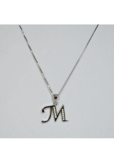 e0c884c37839 Colgante de inicial con circonitas y cadena (disponible todas las  iniciales). Acabado en