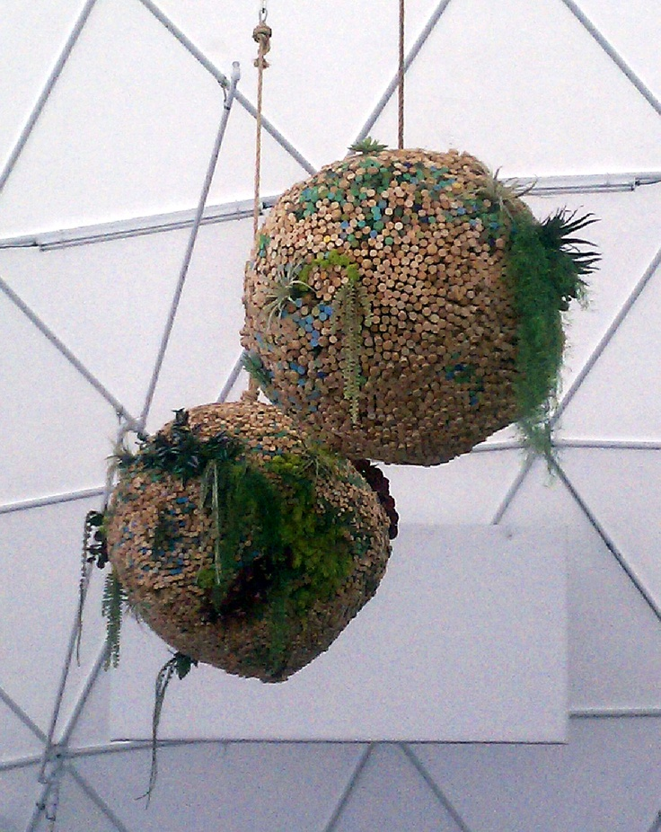 We were wine tasting at Rock Wall Wine Company in Alameda (www.rockwallwines.com/) when I noticed this hanging in their event dome. Yes, that hanging planter is a HUGE ball o' wine corks with a bunch of plants in it.
