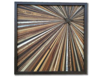 Reclaimed Wood Starburst Wall Art Sculpture Abstract Rustic Modern Transistional Decorative Textured Infinity Point Metal Star OOAK