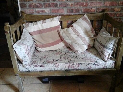 Old cot converted in seating