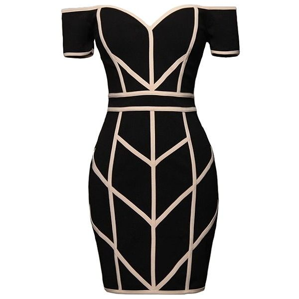 Line Command Dress ($80) ❤ liked on Polyvore featuring dresses, off shoulder dress, off the shoulder dress, zip back dress, geometric print bodycon dress and geometric pattern dress