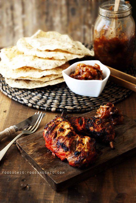 Pollo tandoori con chutney de manzana, pera y jengibre
