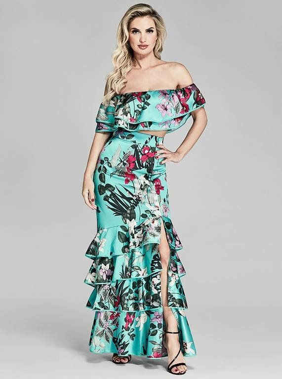 5efb46f88c Featuring an off-the-shoulder crop top and dramatic maxi skirt with a  ruffled design and stunning floral print   MARCIANO.com
