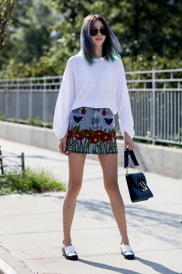 Irene Kim on the street at New York Fashion Week. Photo: Imaxtree.