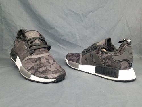 1c5366f0c Adidas Men s NMD R1 Running Sneakers Mesh Black Grey Camo Size 9.5 NWOB!