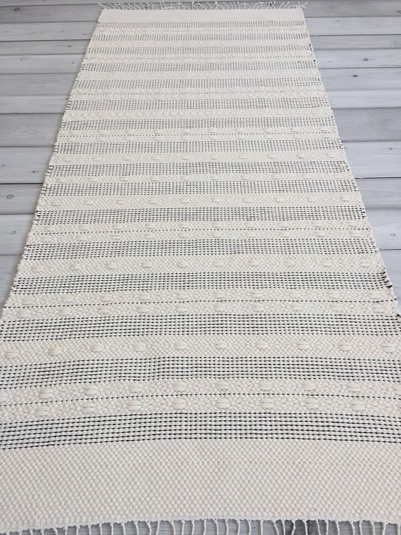 2.5x5.4 Kitchen rug, Scandinavian rugs, Nordic rug, black ...