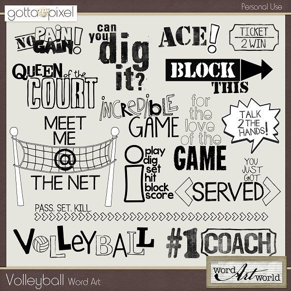 Volleyball Word Art. Digital Scrapbooking. $2.50