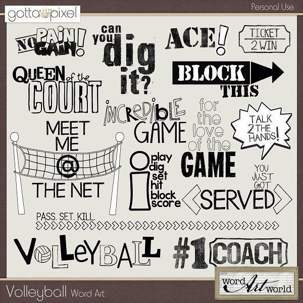 Volleyball Word Art. Digital Scrapbooking. $2.50