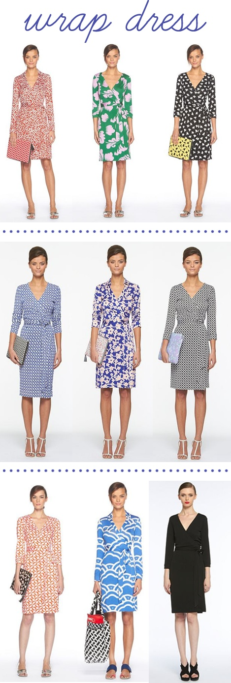 the wrap dress is a necessary staple for the office.