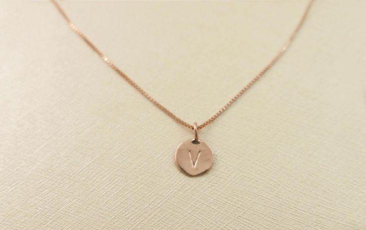 14k rose gold necklace. Initial pendant. Letter charm necklace. Personalized necklace. Gold pendant necklace. initial necklace.Gift ideas