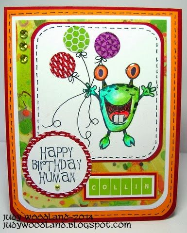 "Technique Tuesday's ""Monster Ink"" stamp Judy's Happy Place: For Collin"