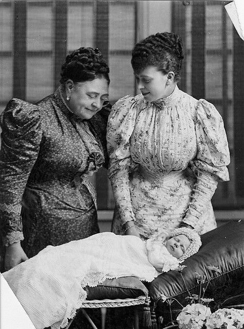 The Duchess of York (later Queen Mary) with her mother The Duchess of Teck and son Prince Edward of York (later King Edward VIII/Duke of Windsor), 1894.