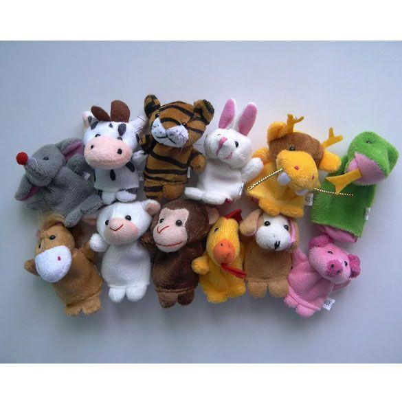 중국어 조디악 12 개/몫 동물 만화 생물 손가락 인형 봉제 장난감 인형 아이 아기 호의 손가락 인형 무료 배송