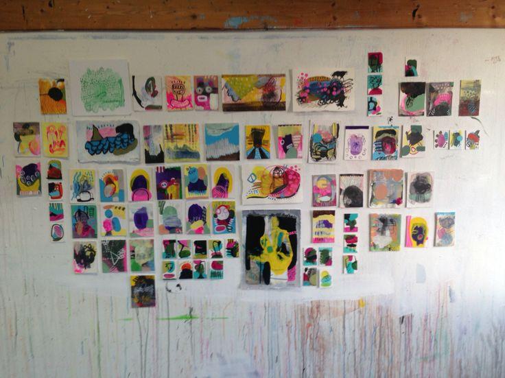 Norwegian painter Kristin Jensen Romberg. Work on cardboard. 2016 http://www.kristinromberg.com/