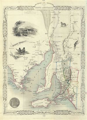 This is a beautiful example of John Tallis and John Rapkin's 1851 map of South Australia, Australia.  Centered on the Spencer Gulf, it covers the southeastern part of the state of South Australia from Lake Torrens to Kangaroo Island and Bonny Wells.  This map depicts the area during the early years of settlement in the only state to be settled by free settlers.  The map includes beautiful illustration by H. Warren depicting Adelaide, natives of Catamaran, a Nymphicus, and an Australian dog…