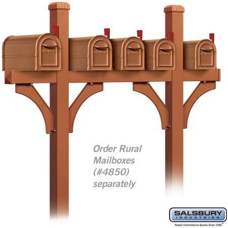 Salsbury Industries Deluxe Mailbox Post, Bridge Style For 5 Mailboxes, In-Ground Mounted, Bronze