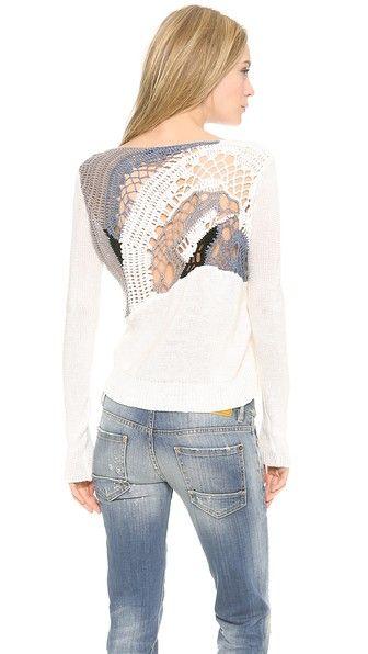 Tess Giberson Crochet Sweater - Blusa com aplicação de crochê