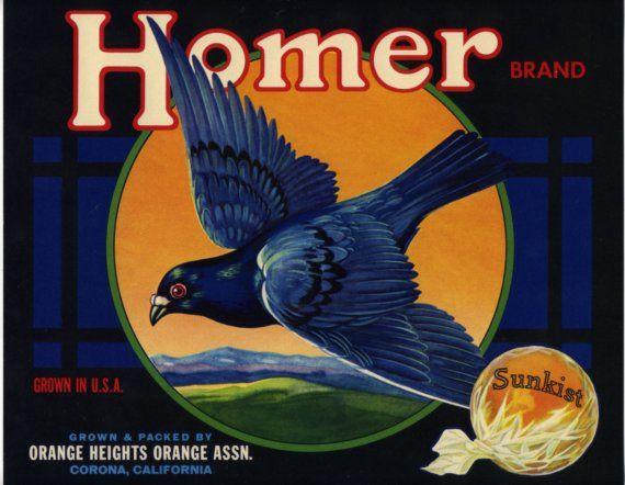 Homer Brand Orange Crate Label