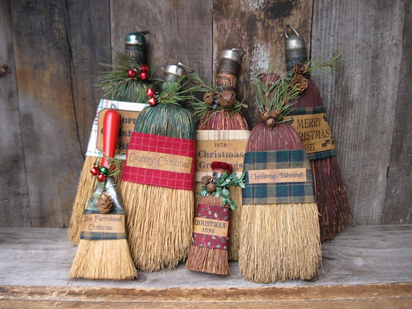whisk brooms decorated for christmas - Christmas Broom Decoration
