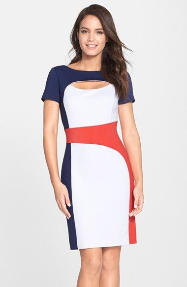 Women's Nue by Shani Keyhole Colorblock Ponte Sheath Dress