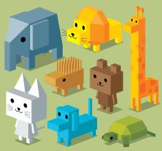 Cubic Animal Collection vector art illustration