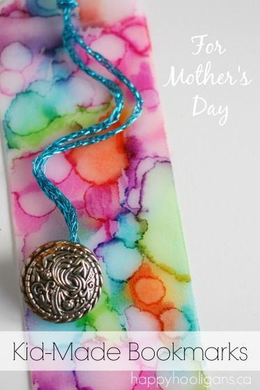 Homemade Bookmarks - Tie Dyed with Sharpies and Rubbing Alcohol - these look gorgeous