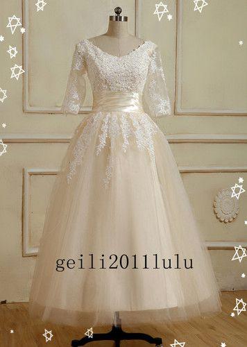 beautiful tea length wedding dress with sleeves