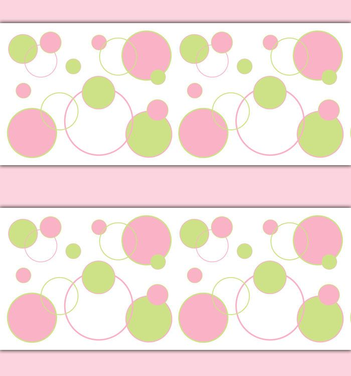 Baby Girl Nursery Pink Green Polka Dot Wallpaper Border Wall Art Decals Stickers #decampstudios
