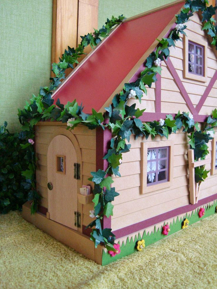 """Sylvanian """"Mushroom house"""" for mice made by me."""