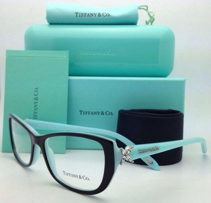 New TIFFANY & CO. Eyeglasses TF 2044-B 8055 55-16 135 Black w/Blue Cat Eye Frame