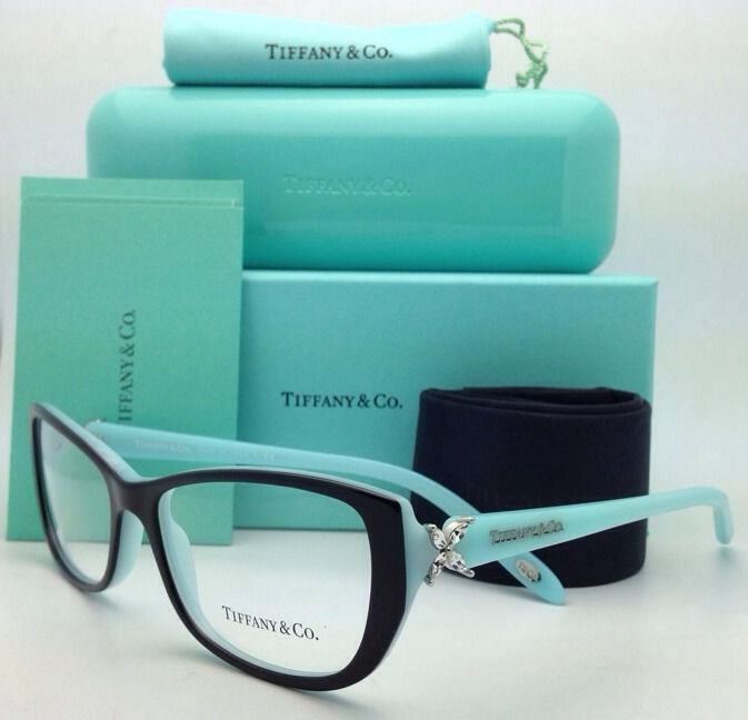 New TIFFANY & CO. Eyeglasses TF 2044-B 8055 55-16 135 Black w/Blue Cat Eye Frame
