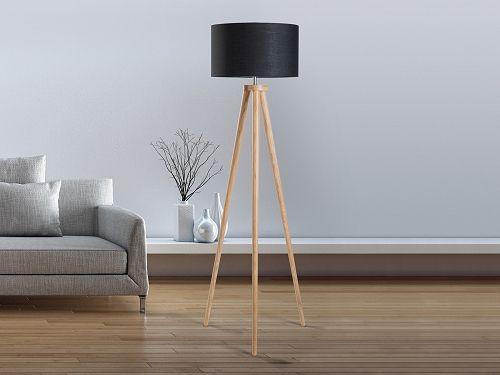 Lampe sur pied moderne - noir - corps en bois naturel - NITRA