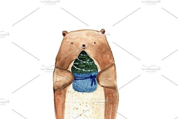 Cute bear holding Christmas spruce by Bunny's Little Shop on @creativemarket