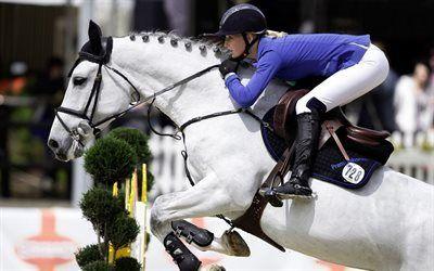 Scarica sfondi equitazione, salto ostacoli, ragazza, cavallo, ostacolo