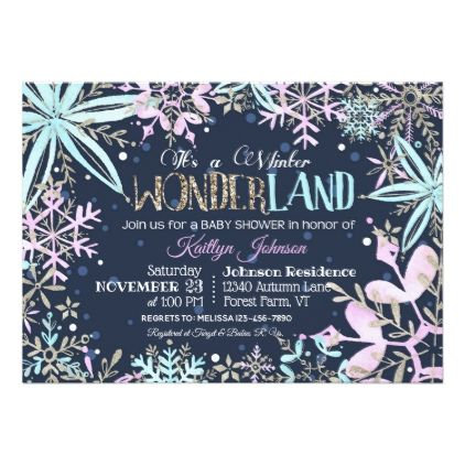 Winter Wonderland Snowflakes Sparkle Baby Shower Card - baby shower ideas party babies newborn gifts