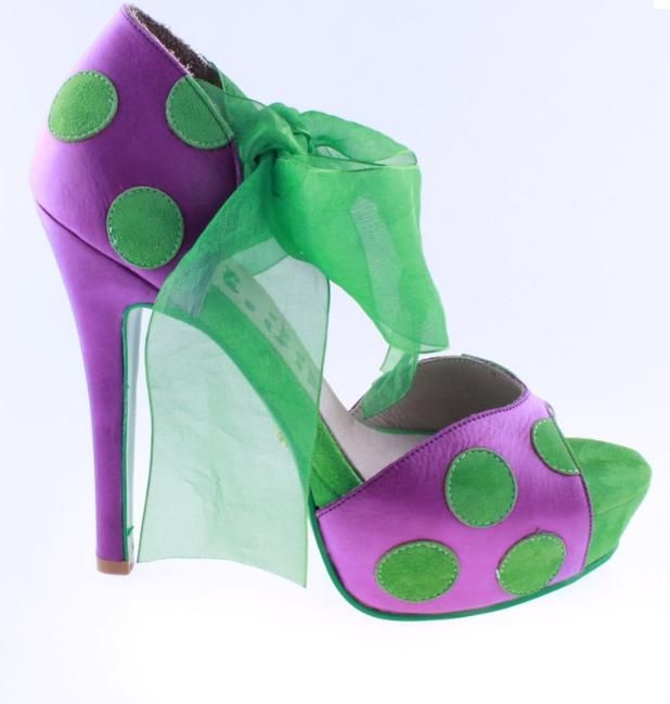 NR39/Green-Purple: Purple Shoes, Polka Dots, Fun Parties, Polkadot, Nr39 Green Purple, Dots Purple, Parties Shoes, Amazing Shoes, Green Polka