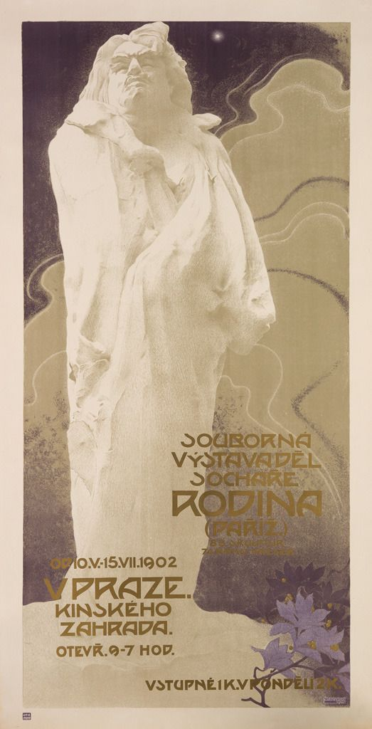 Souborna Vystava Del Sochare Rodina (1902). Vladimír Županský (Czech, 1869-1928). Unie, Prague. Poster. Advertising a retrospective of Rodin's work in Prague in 1902, sponsored by the Manes Artists Union. The powerful statue of the famous writer Balzac does not show him in a traditional pose with a quill in his hand, but rather, depicts him in his bathrobe (which he customarily wore when writing), with his head thrown back and his hair tousled.