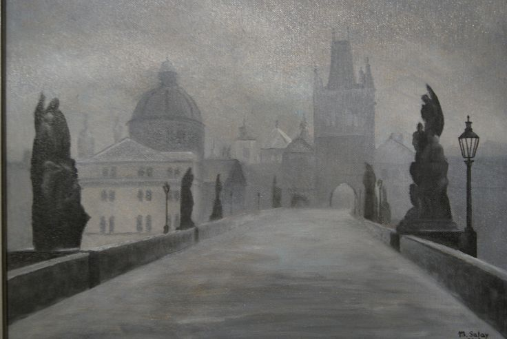 Karlov most v Prahe olejomalba - Carl bridge in Prague oil painting