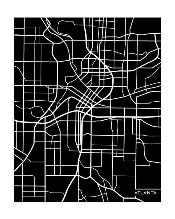 Atlanta map art print from jennasuemaps on etsy