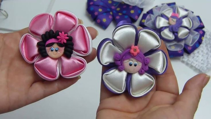 DIY kanzashi flower, Flower Кanzashi Hand Made,Lazo, PAP Moños con flore...