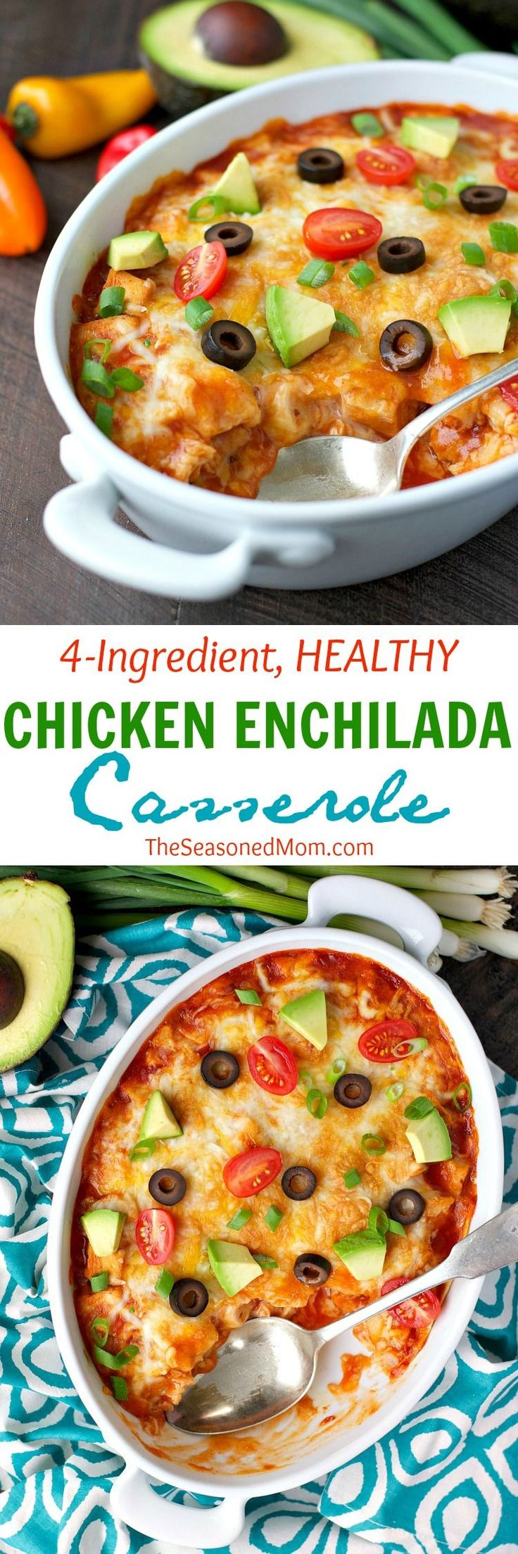 With just four basic ingredients you can have a Healthy Chicken Enchilada Casserole ready to go in the oven -- with only 5 minutes of prep time! Easy, nutritious, and family-friendly weeknight dinners don't get any faster than this!